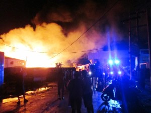 Fire rips through the storage bond in Eccles Industrial Site. [iNews' Photo]