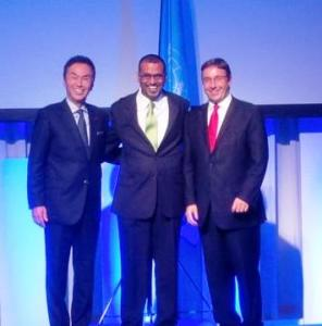 Minister Persaud after signing the Convention with Japan' Minister of Environment,  and UNEP Executive Director.