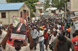 Protesters in anti-government demonstrations on the streets of Port-au-Prince