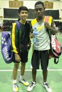 Men's Doubles champion Narayan Ramdhani (left) and and Nicholas Ali.