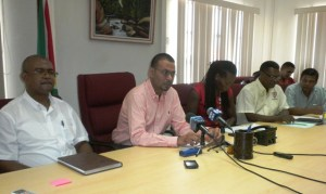 Environment Minister, Robert Persaud along with other representatives at the November 1 Press Conference.