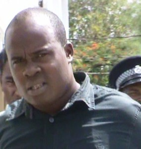 Oriley Small exiting the Georgetown Magistrate's Court. [iNews' Photo]