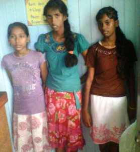 The three young women who have been locked up by the police.