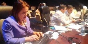Guyana's Foreign Minister Carolyn Rodrigues –Birkett at the meeting of Foreign Ministers of CELAC, prior to the opening of the 2nd Summit