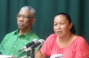 Leader of the APNU, David Granger and MP, Dawn Hastings. [iNews' Photo]