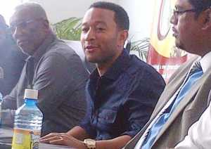 John Legend during the press conference at Ogle Airport.