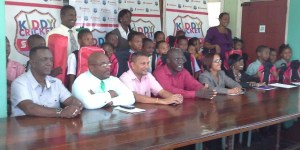 Members of the GCB, Soctia Bank and the National Sport Commission.