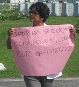 Administrator for the Amerindian Peoples Association Jean La Rose during the protest. [iNews' Photo]