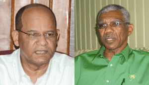 L - R: PPP's General Secretary, Clement Rohee and Leader of the APNU, David Granger.