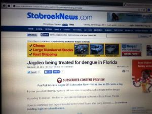 """The online version of the Stabroek News which states that the former President is resting at his """"house"""" in Florida."""