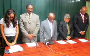 APNU members observe a moment of silence for the late Deborah Backer. [iNews' Photo]