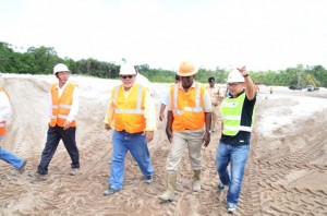 President Donald Ramotar and Minister of Public Works, Robeson Benn at the Cheddi Jagan International Airport (CJIA) expansion project site