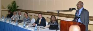 Chancellor of the Judiciary Justice Carl Singh addresses the seminar.