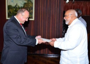 President Donald Ramotar accepting letters of accreditation from His Excellency, Ambassador of the Slovak Republic, Mila Cigan
