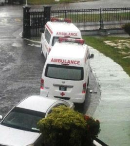 The ambulances parked and ready in the compound of Parliament. [iNews' Photo]
