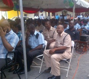A section of the gathering at the 'A Division's' farewell ceremony for Leroy Brumell.