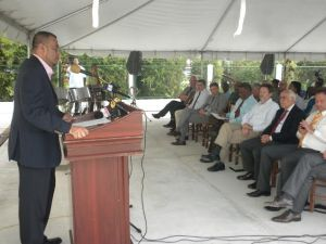 Minister of Natural Resources and Environment, Robert Persaud addresses the gathering.