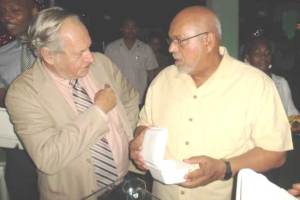 FLASHBACK: President Donald Ramotar (right) and Ronald Webster (left).