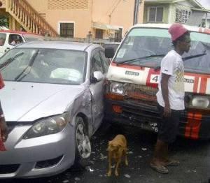 The accident scene. [Mondale Smith's Photo]