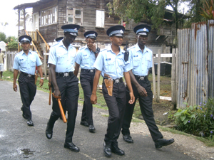 Police foot patrol in the Albouystown Community. [Kaieteur News' Photo]
