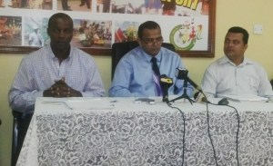 Youth Minister, Dr Frank Anthony (center) and Permanent Secretary (left) Alfred King. [iNews' Photo]