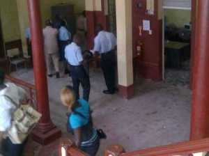 The scene at the Georgetown Magistrates' Court. [iNews' Photo]