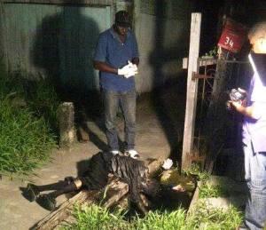 The unidentified man slumped in the drain.