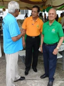 Chairman of the Board of Directors, Yesu Persaud (first from right) followed by CEO, Pravinchandra Dave. [iNews' Photo]