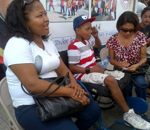 Cancer patient, 9 – year - old Jevier Anderson, his mother Lizzana Anderson and First Lady, Deolatchmie Ramotar. [iNews' Photo]