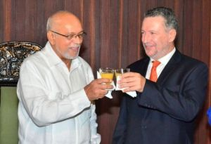 President Donald Ramotar and newly appointed Brazilian Ambassador to Guyana, Mr. Lineu Pupo de Paula sharing a toast following the handing over of Letters of Credence