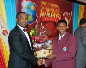 Shivnarine Chanderpaul and President of the WICB, Dave Cameron.