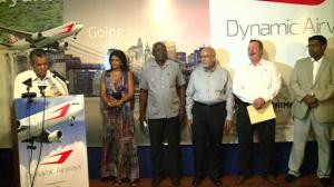 President Donald Ramotar, Public Works Minister Robeson Benn and spouse, Minister of Tourism(ag) Irfaan Ali and Dynamic Airways Vice President Tom Johnson at the launch of the airline