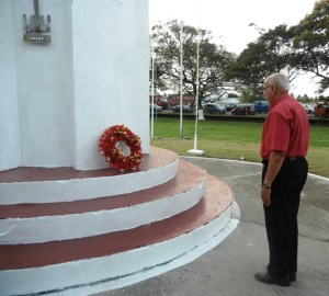President Donald Ramotar visits the monument site of the Martyrs at Enmore, East Coast Demerara. [iNews' Photo]