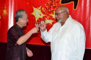President Donald Ramotar and Chinese Ambassador to Guyana Zhang Limin