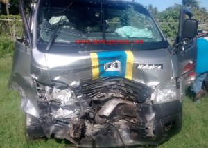 The minibus involved in the accident.