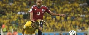 Neymar was challenged by Napoli defender Juan Zuniga late in the game