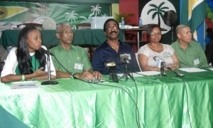 Leader of the PNCR, David Granger [second from right] along with other officials at the Press Conference this evening. [iNews' Photo]