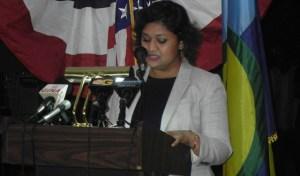 Priya Manickchand during her address.