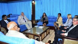 President Donald Ramotar, Agriculture Minister Dr. Leslie Ramsammy and Minister of Housing, Irfaan Ali during the meeting with the Swedish delegation.