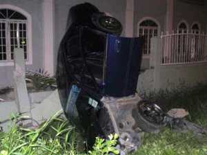 Both occupants of the car escaped unhurt. [iNews' Photo]