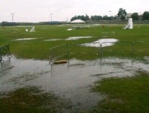 Parts of the ground under water on Friday.
