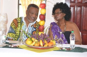 Prime Minister Samuel Hinds and Proprietress Mrs. Janice Mc Almont, of J&C Renaissance Banquet Hall, sharing a light moment during the opening              ceremony