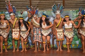 An Amerindian group doing a cultural item. [GINA Photo]