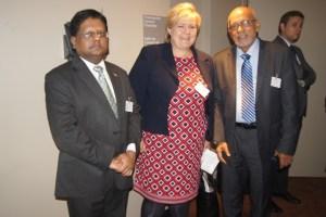 President Donald Ramotar and new Norwegian Prime Minister, Erna Solberg along with Finance Minister Dr Ashni Singh