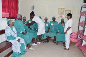 Patients being prepped for surgeries under the supervision of Head Nurse, Kunte Bacchus at the GPHC's Eye Clinic. [GINA Photo]