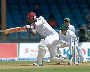 Kraigg Brathwaite playing one of his many shots during his stroke filled century on day one of the first test between West Indies and Bangladesh.
