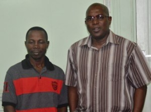 National Boxing Coach, Sebert Blake (left) and President of the Guyana Boxing Association (GBA), Steve Ninvalle
