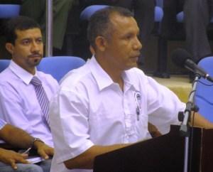 Chairman of the National Toshaos Council, Derrick John addresses Amerindian Leaders. [iNews' Photo]