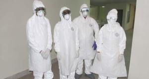 Trained doctors in their Ebola gears. [Guyana Chronicle Photo]