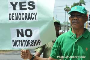 Opposition Leader David Granger during his recent protest for Local Government Elections.